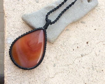 Large orange Agate macrame necklace, mens necklace, teardrop shape orange stone, Natural Carnelian necklace, Boho, Rustic, Zen, gift for him