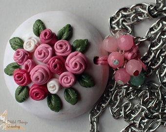 Rose Bouquet polymer clay pendant