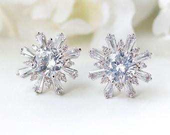 Bridal Jewelry Crystal Stud Earrings Silver Bridal Accessories Bridal Earrings Silver Crystal Studs Silver Wedding Jewelry E325-S