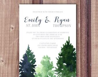 Watercolor Trees, Trees wedding invitation, tree invitation, pine tree invitation, woods invite, mountain wedding invitation, pine trees