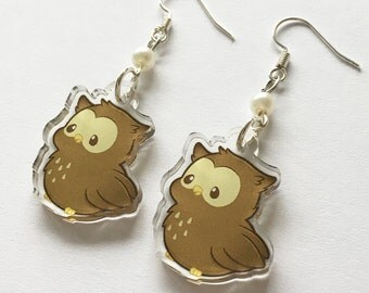 """Chubby Owl Cute Kawaii Fluffy Feather Bird Animal 1"""" Acrylic Clear Double Sided Charm Dangle Drop Earrings"""
