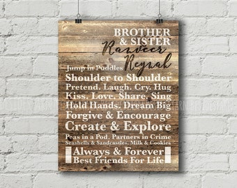 Brother and Sister Rustic Wood Wall Art, Custom Name Print, Personalized Name Printable, Playroom Sign, Playroom Art, Rustic Nursery Decor