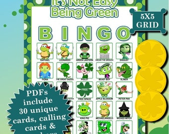 It's Not Easy Being Green 5x5 Bingo printable PDFs contain everything you need to play Bingo.