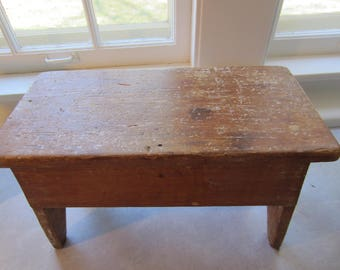 Vintage Wooden Rustic Bench/Wood Stool/Small Antique Bench/Farmhouse Decor/Country Decor/