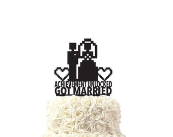 wedding cake toppers for gamers, achievement unlocked, other colors also possible, custom made cake topper