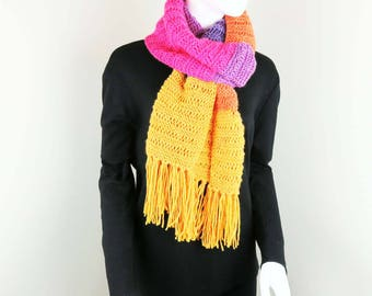 Hand Knit Scarf with Fringes - Knitted Scarf - Women Fringed Scarf