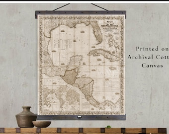 Vintage Sailing Map of the West Indies. Vintage Map of the Caribbean.  Pull Down or Hanging Map. 1857