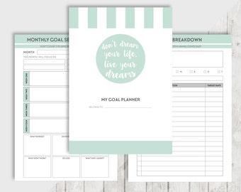Printable GOAL A5, Personal Planner, Printable Inserts, Filofax, Kikki K, Habit tracker, Goal setting, Goal planner, Resolution, Bucket list