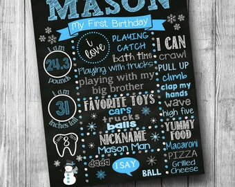 Winter Wonderland Snowman First Birthday Chalkboard Sign First Birthday Poster Winter ONEderland Blue and White (Can be any color or age)