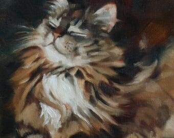 Cat - smile - calico - oil painting - original art - Pamela Poll