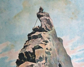 1900 Matterhorn/Cervino Alps. Mountaineering Print original antique 117 years old nice print!