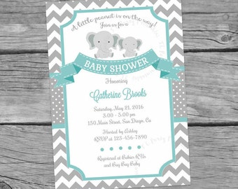 Elephant Baby Shower Invitation. Little Peanut Invitation.  Little Peanut Shower. Teal and Grey. Gender Neutral Shower. D4 Digital File.
