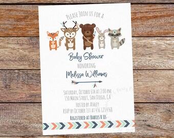 Woodland Baby Shower Invitation, Tribal baby shower, Boho baby shower. Woodland Invitation. Digital File.