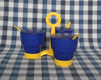 Blue and Yellow Tupperware Condiment Caddy