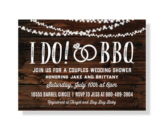 I Do BBQ Invitation, Couples Shower Invitation, Engagement Party, Wood Invite, Printable Invite, I Do Barbecue, Rustic Cookout