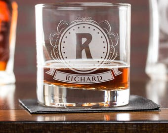 etched whiskey glasses, rocks glass, gift for dad, personalized glass, engraved gifts, gift for husband, gift for boss