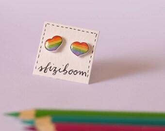 Rainbow heart stud earrings made of shrink plastic, lgbt earrings
