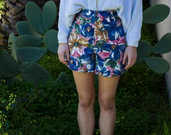 Tropical Print Multi Color Bermuda Denim High Waisted Shorts with Pockets