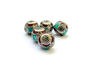 One Tibetan Inlay Bead - Turquoise Coral and Silver-toned brass - Jewelry Making - Supplies - Handmade Tibetan Beads - Ornate - Ethnic
