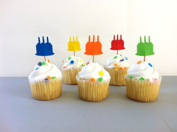 25 Mini Cupcake Toppers Birthday Cake Rainbow Colors Mini