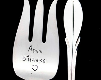 Hand Stamped Vintage Meat Fork, Give Thanks Engraved Silverware Holiday Table Setting Hostess Housewarming Gift Serving Utensil