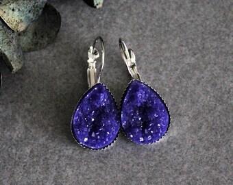 Purple Teardrop Earrings, Dark Purple Earrings, Purple Druzy Earrings, Purple Drop Earrings, Purple Dangle Earrings, Dark Purple Druzy