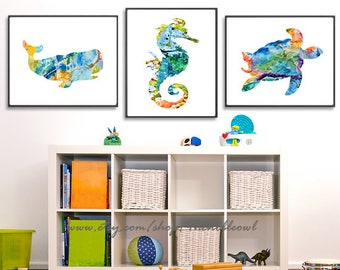 Delicieux Nautical Nursery Playroom Decor Nautical Baby Shower Nautical Print Nautical  Wall Decor, Ocean Set Of