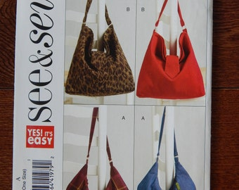 "Hand Bag Sewing Pattern/ Easy See & Sew 5124/ Two Sizes A- 17.5"" W x 11.5"" L or B- 14"" W x 13.5"" L/magnets, zipper, hobo, slouch bag/Uncut"