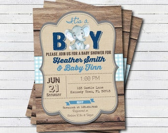 Rustic elephant baby boy shower invitation. It's a boy, coed couples baby shower. Rustic wood and burlap printable digital invite. B234