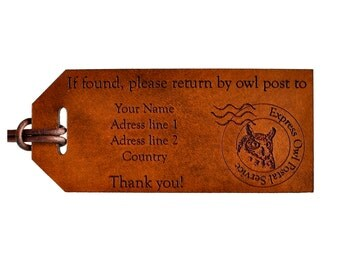 Harry Potter Fan Gift, Hogwarts Gift, Owl Post Luggage Tag, JK Rowling Fan Gift, Harry Potter Nerd Gift, Hedwig Owl, Hogwarts Owl, Post Owl