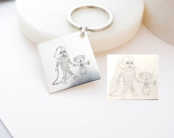 30% OFF! Child's Artwork Keychain • Children Drawing Jewelry • Meaningful Personalized Gift for Dad and Grandpa • Father's Day Gift • CM26