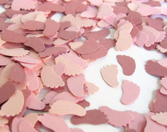 1000 Mauve and Pink Baby Feet Confetti - Mauve Baby Shower Decorations - Girl Sprinkle Decorations