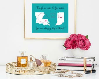 Best Friend Gift - Long Distance Best Friend Gift - Going Away Gift for Friend - Sister Gift - BFF Gift - Personalized Map Two States