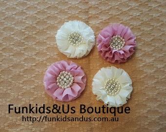 beaded fabric chiffon ruffled flowers w/pearl rhinestone -diy flower supply