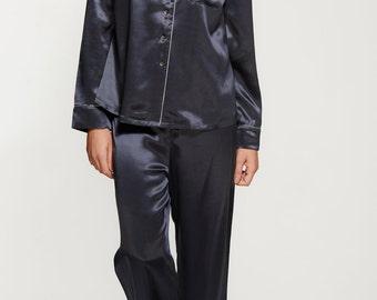 Women's Long Silk Pyjama Set - Silk Nightwear Set - Bridal Pyjamas - Handmade - 100% Silk - Midnight Grey Colour