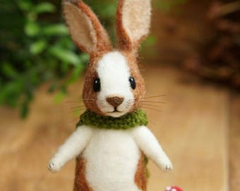 Needle felted rabbit-Cinnamon Brown and White.