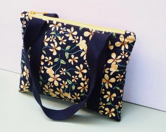 "SALE - Small handbag   9""x6.75""   yellow floral handbag   zipper top bag   inner pocket   small floral carry bag   pretty gift for her"