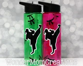 Female Karate Water Bottle; Personalized Girl Martial Arts Water Bottle; Taekwondo Girl Water Bottle