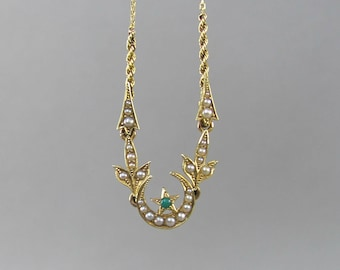 VICTORIAN crescent moon and star charm necklace, set with turquoise and seed pearls, wedding bridal necklace, something old something blue.