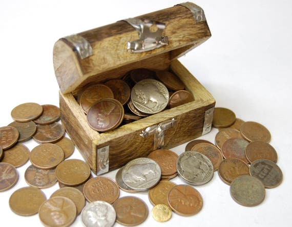 Old Coins in Treasure Chest - Over 1/2 Pound of Wheat Pennies - Buffalo Nickels - Silver Coin - Gold Coin - Rare Coins - Coin Collection