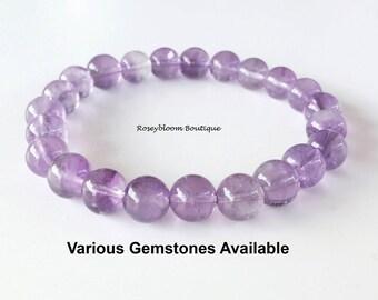 8mm Grade AB Genuine Amethyst Bracelet-February Birthstone Bracelet-Purple Stone Bracelet-Amethyst Gemstone Bracelet-Natural Amethyst