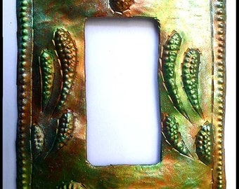 Metal Switch Plate - Metal Light Switchplate Cover -Rocker Switch Cover - Iridescent, Haitian Metal Art - Switch Plate Covers - HRS-103-1-IR