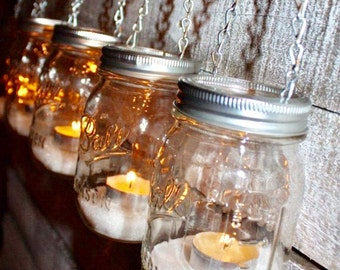 Hanging Outdoor Garden Light Mason Jar Lantern Luminaries, DIY Flower Vase Hangers or Candle Jar Silver Chain- Set of 6 Lids