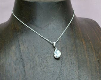 Crystal drop necklace, bridal crystal necklace, bridesmaid necklace, teardrop crystal necklace