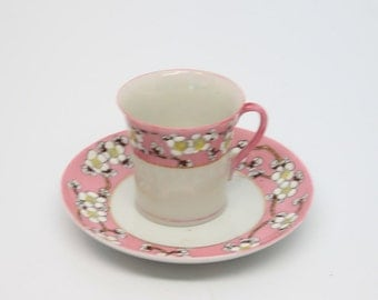 Vintage/antique SNB Nagoya Nippon cup and saucer, pink with white flowers, handprinted made in Japan de;irate cup and saucer