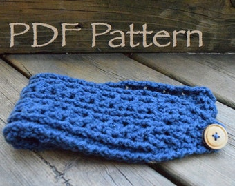 CROCHET PATTERN - The Mountain Cables Warmer - Headband - With Button - (PDF File)