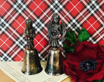 Set of Two Reed and Barton Silverplate Bell Bells Angel with Wreath Boy with Christmas Tree