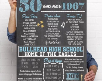 1967 - 50th Class Reunion Chalkboard Sign - DIY PRINTING ***Digital File*** (1967-School)