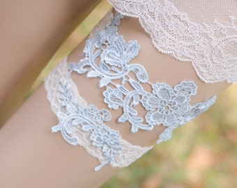 Light Blue Lace Garter, Baby Blue Bridal Garter, Blue Lace Garter, Keepsake and Toss Garter, Something Blue Garter- PATRICIA GARTER SET