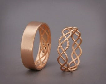 14K Rose Gold Celtic Wedding Rings Set   Handmade 14k rose gold Celtic wedding Rings   His and Hers Wedding Bands Set